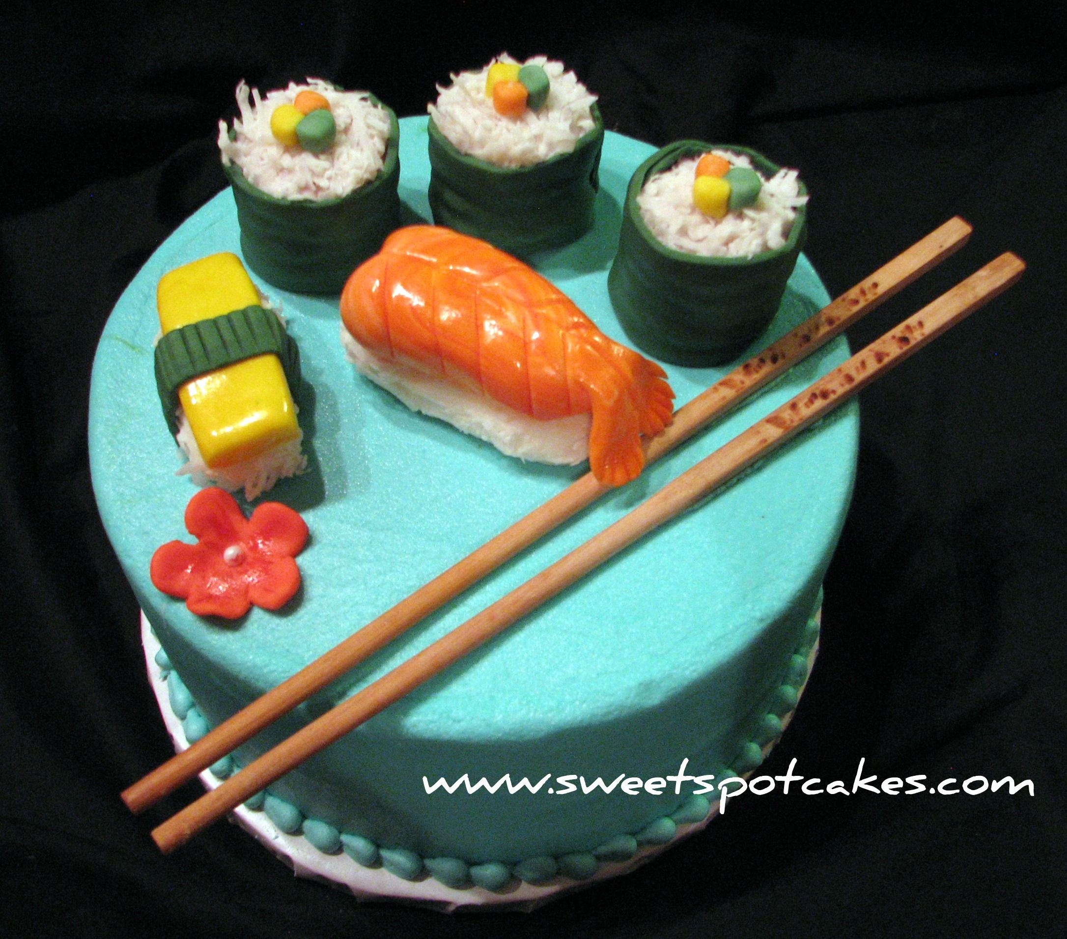Astounding Sushi Theme Birthday Cake With Fondant Sushi With Images Sushi Personalised Birthday Cards Veneteletsinfo