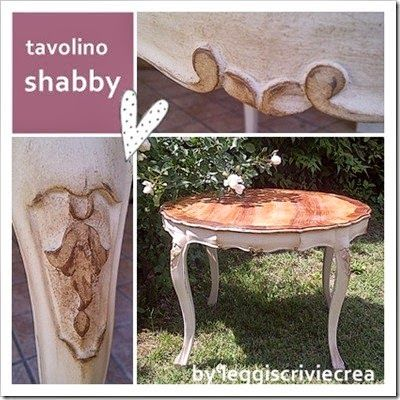 shabby chic restyling of a small table by leggiscriviecrea.blogspot.it