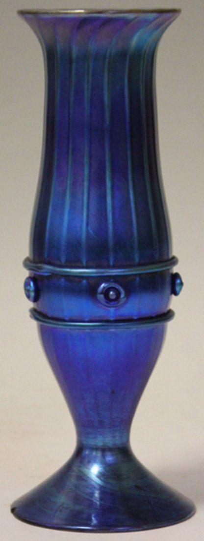 L.C. TIFFANY BLUE AURENE VASE.