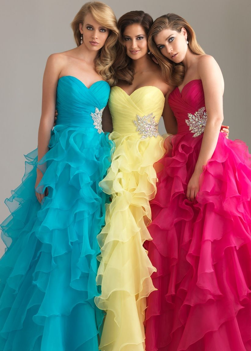 Night Moves 6400 - Turquoise, Yellow, Fuchsia Strapless Ball Gown ...