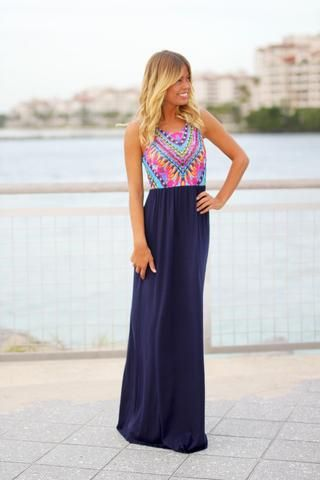 63de8d6781b55 Navy Maxi Dress With Tribal Top from Saved by the Dress - Lots of ...