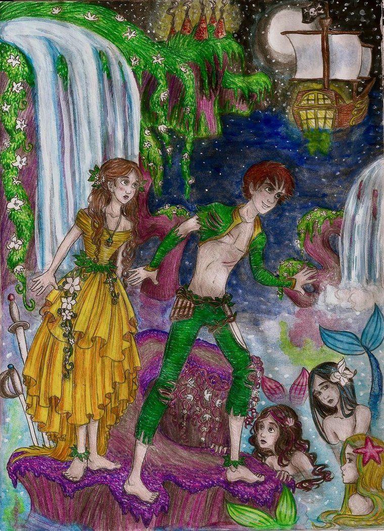 Wendy And Peter Pan At The Mermaid Lagoon