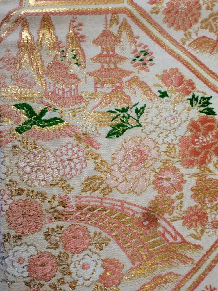 Gorgeous Japanese Vintage OBI White Pink Flower Birds P112773   eBay