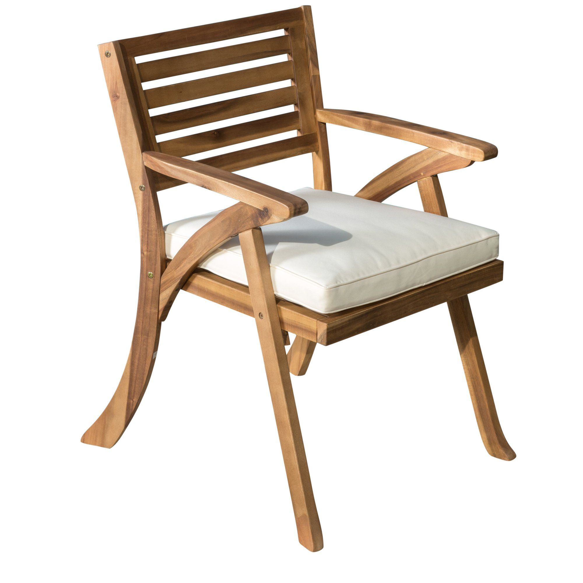 Helen Outdoor Acacia Wood Arm Chair, Set of 2, Teak Finish