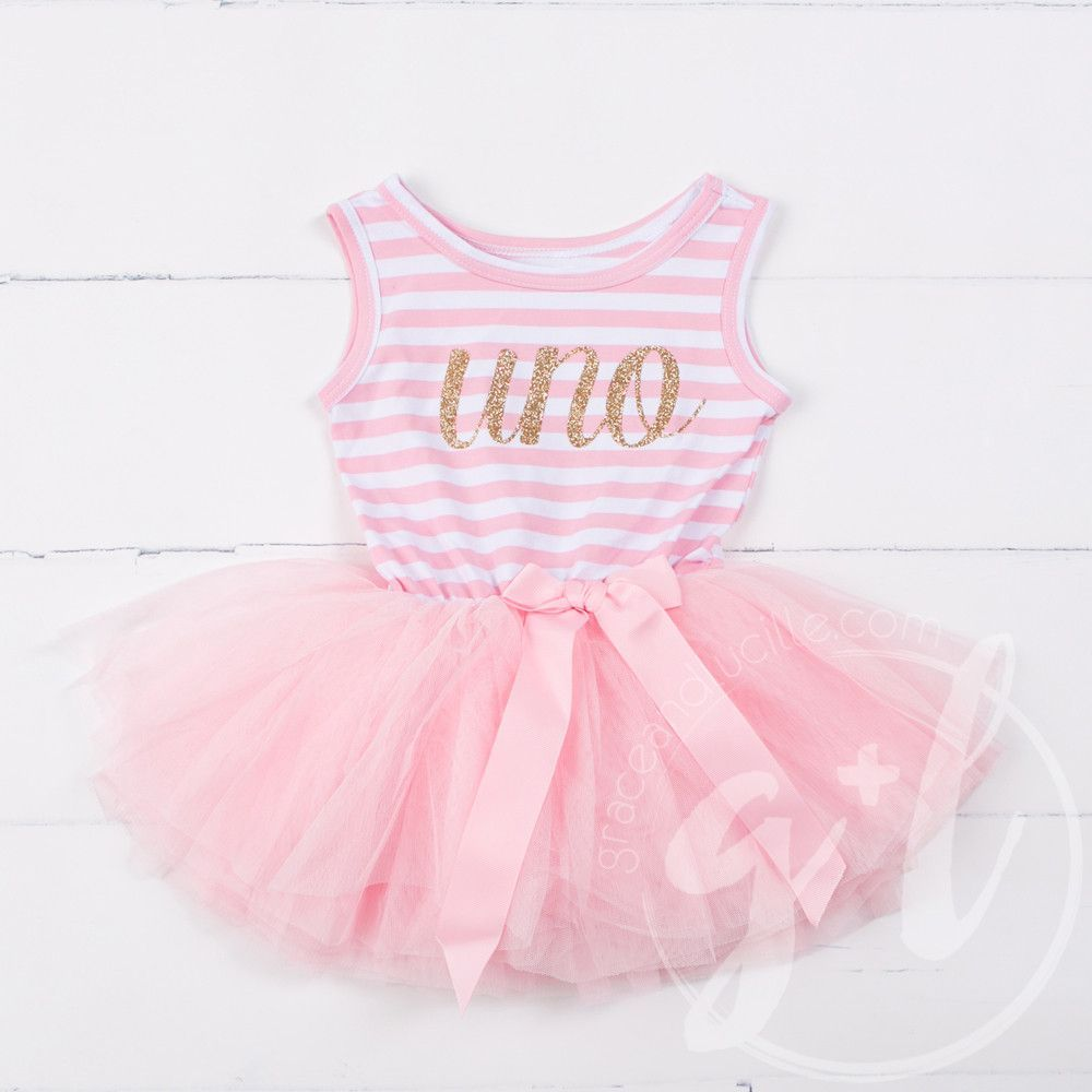 Pink and gold dress for kids  st Birthday Dress Gold Script Spanish