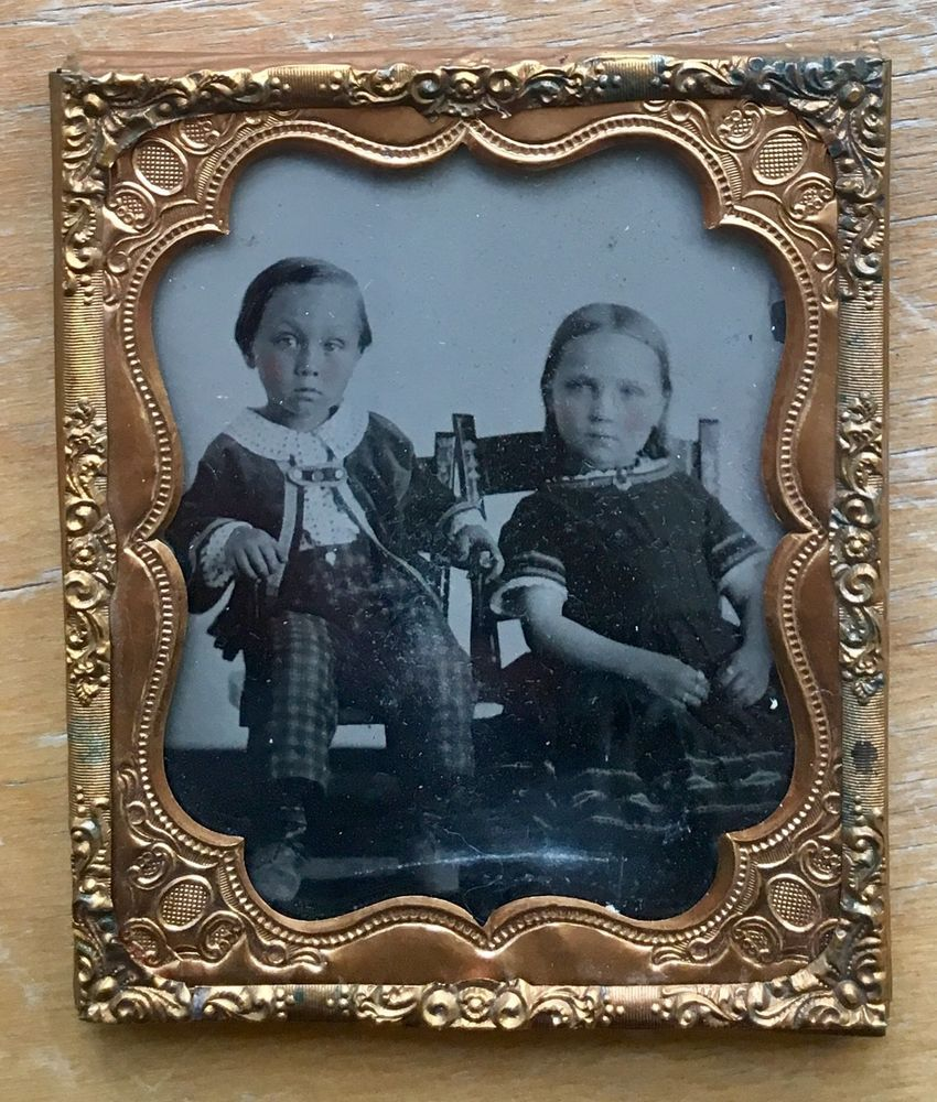 AMBROTYPE of Young Girl & Boy W/Checked Pants 1860s 6th Plate Sharp Image  | eBay