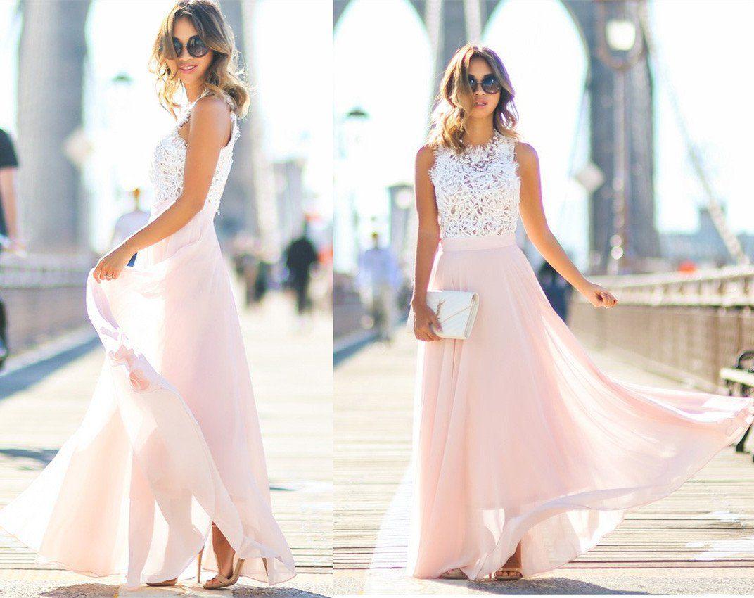 Modest chiffon long blush pink white lace aline high neck floor