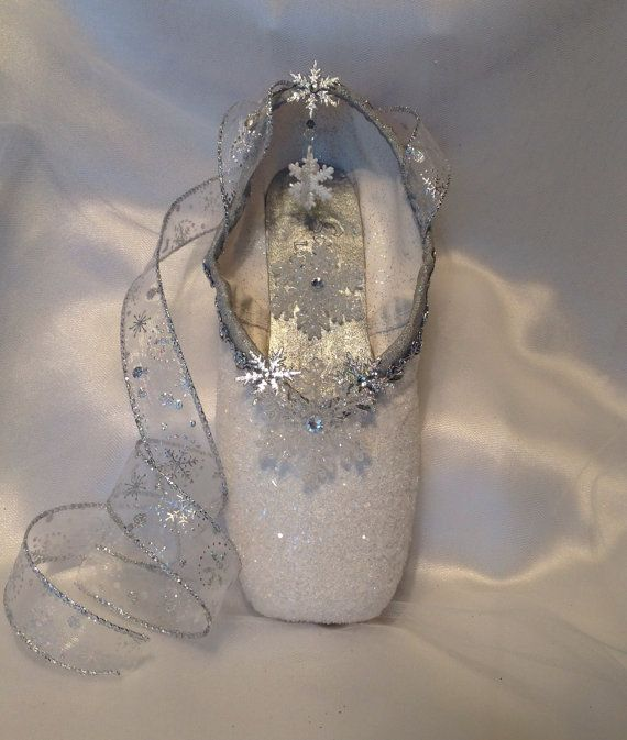 Nutcracker snow themed decorated pointe shoe by for Ballet shoes decoration