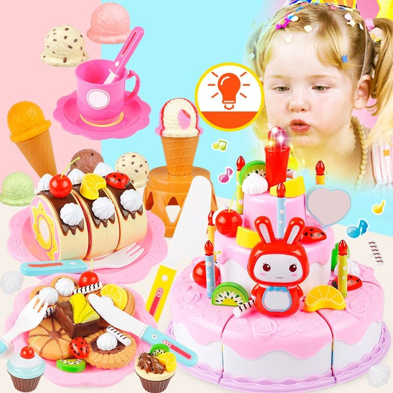 Simulation Birthday Cake Toy With Music Lighting Pretend Kitchen Fruit Cut Baby Learning Cognitive