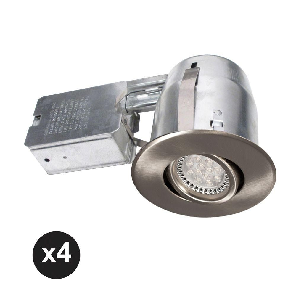 Bazz 300 series 4 in brushed chrome recessed led gu10 light bazz 300 series 4 in brushed chrome recessed led gu10 light fixture kit 4 aloadofball Images