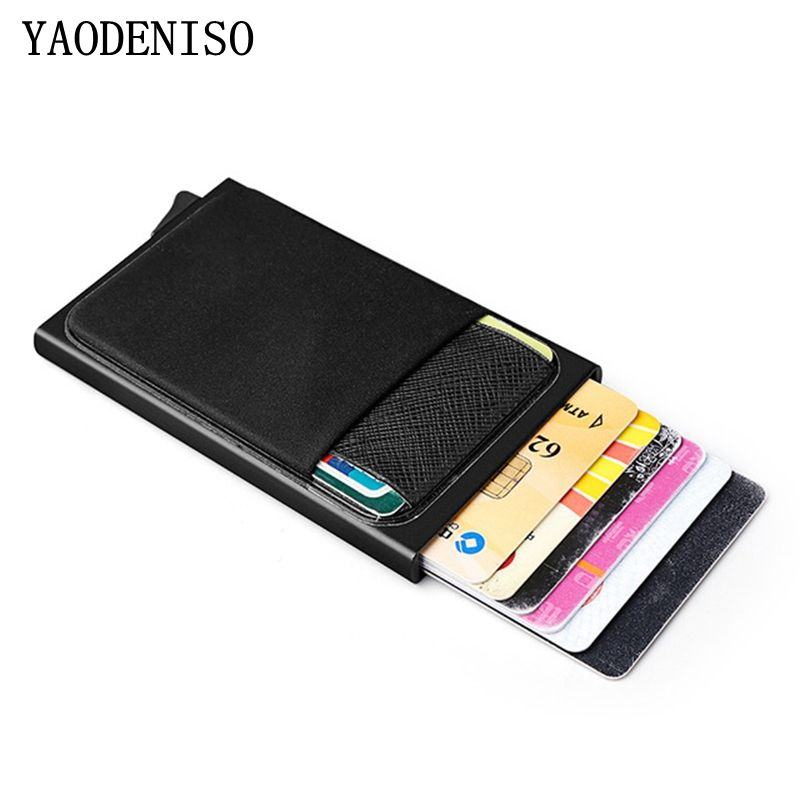 Card Wallet Credit Card Holder Automatic Pop-up Mini Wallet Men with RFID Blocki