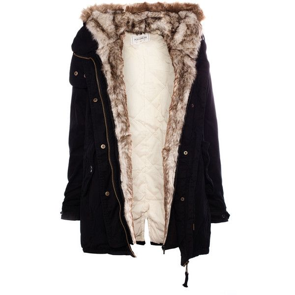 pull bear parka with fur hood featuring polyvore. Black Bedroom Furniture Sets. Home Design Ideas