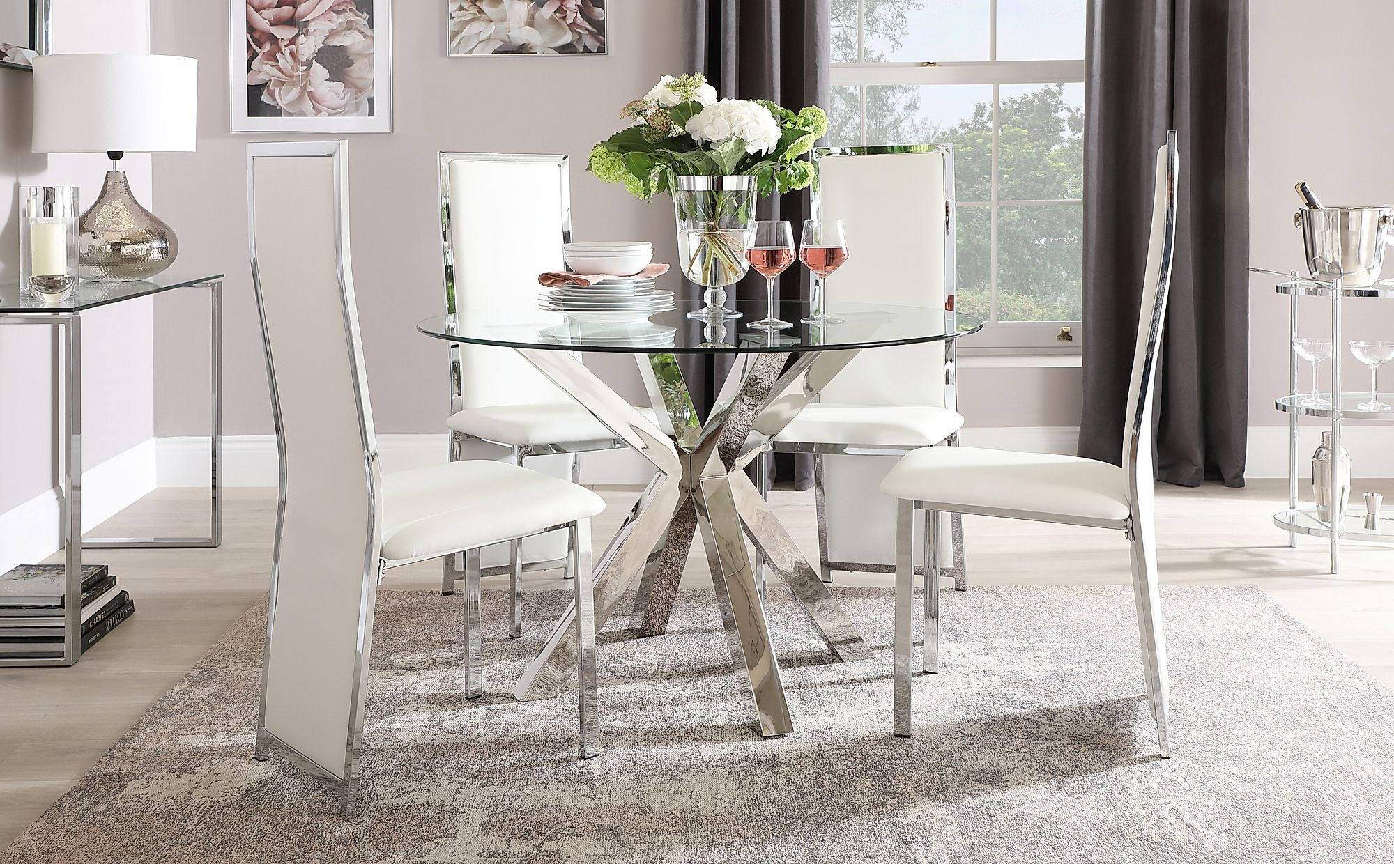Plaza Round Chrome And Glass Dining Table With 4 Celeste White