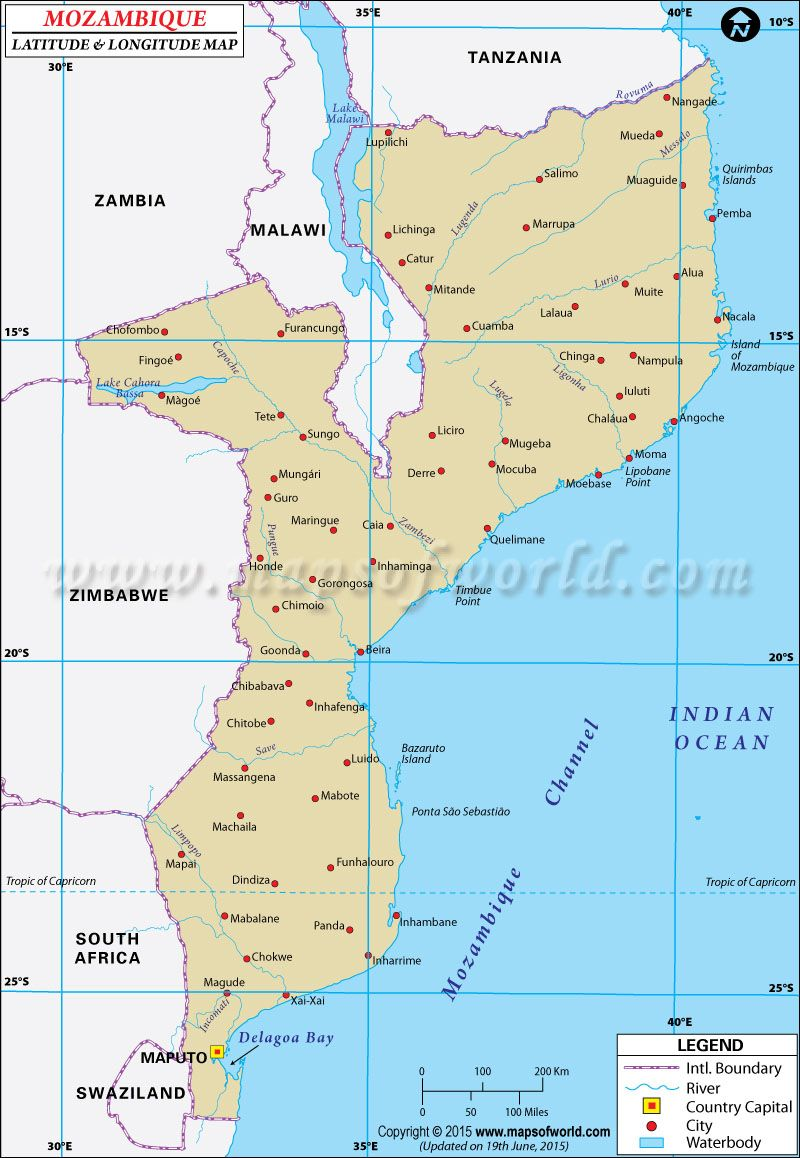 Mozambique Latitude And Longitude Map World | Latitude ...