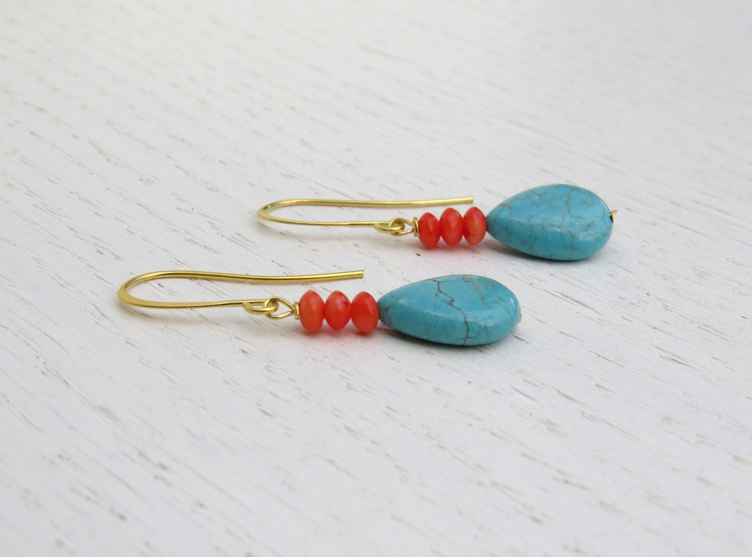 Holiday Pink C Earrings Turquoise Drop By Sarittdesigns On Etsy