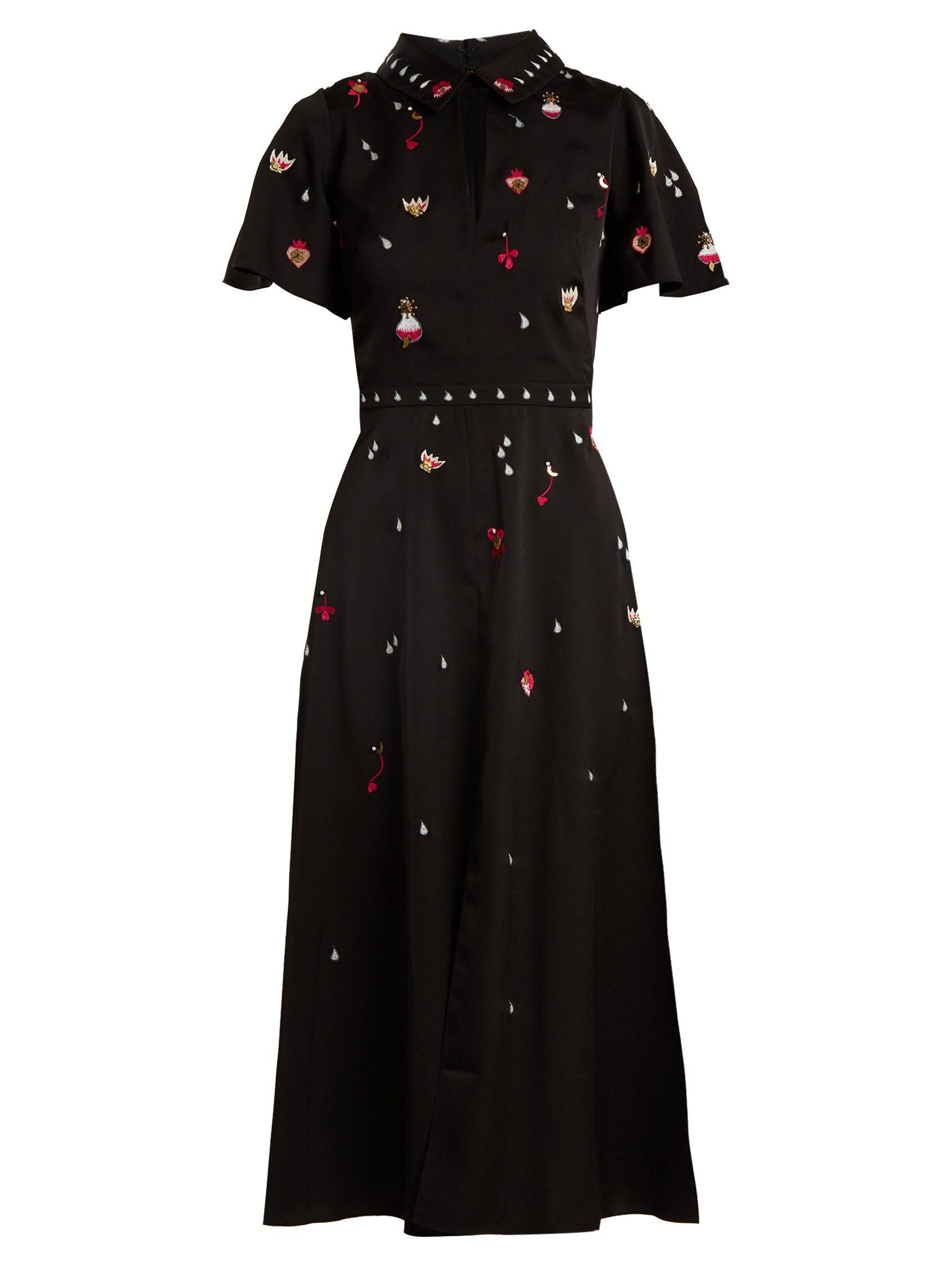 Saturn charm-embellished satin-cady midi dress Temperley London 2JkREWTz