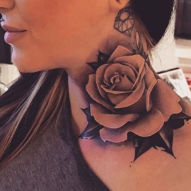 Pinned By Lovemebeauty85 Neck Tattoos Women Rose Neck Tattoo Girl Neck Tattoos