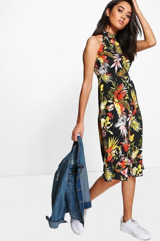 cdf9f764370 Petite Kerrie Tropical Floral Print Culotte Jumpsuit