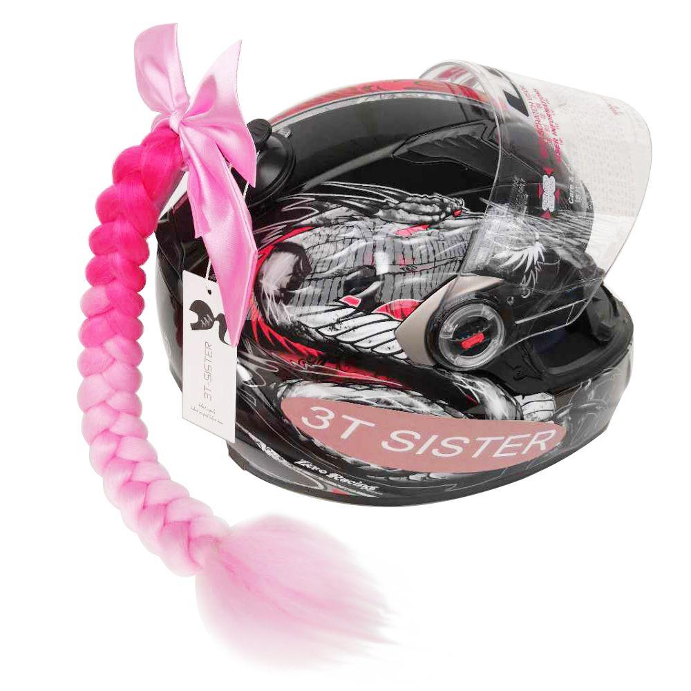 Helmet Pigtails Motor Helmet ponytail Braids Hair 24inch Ombre Pink Reusable