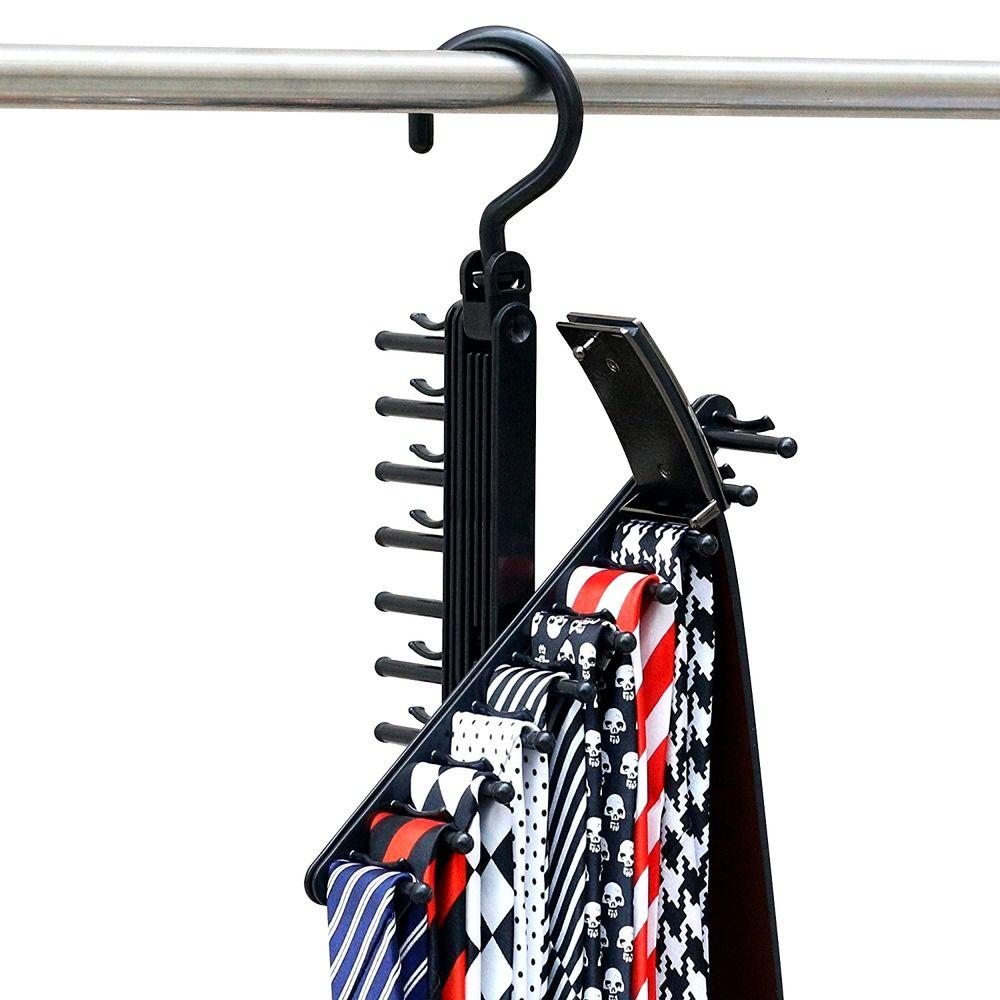 2 Pcs Organizer Hanger Tie Belt Scarf Valet Rack Holder Hold Closet Hook Storage #IPOW