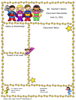 teacher newsletter template super hero theme from firstgradebrain