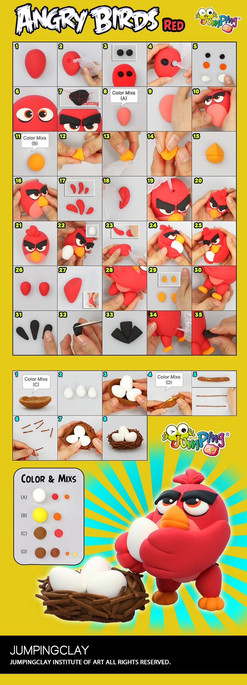 Kids Craft Project Ideas Part - 29: Create Your Own Angry Bird - Step By Step Kids Craft Project Ideas.