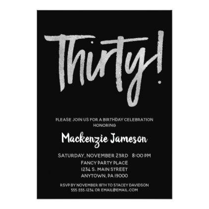 Black silver script 30th birthday party invitation invitation ideas filmwisefo