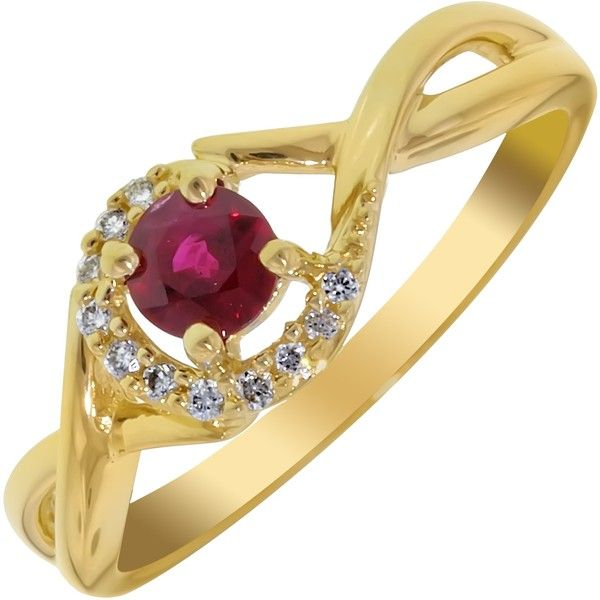 Ruby Ring in 14kt Yellow Gold with Diamonds (1/20ct tw) ($699) ❤ liked on Polyvore featuring jewelry, rings, yellow gold diamond rings, diamond jewelry, red ring, gold ring and gold diamond jewelry