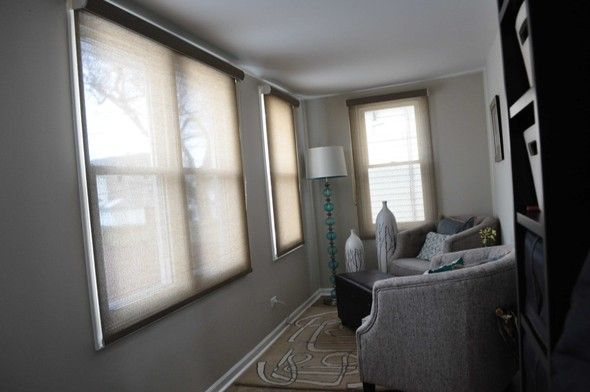 Hunter douglas designer screen roller shade with decorative fascia roller shades pinterest for Hunter douglas exterior sun shades