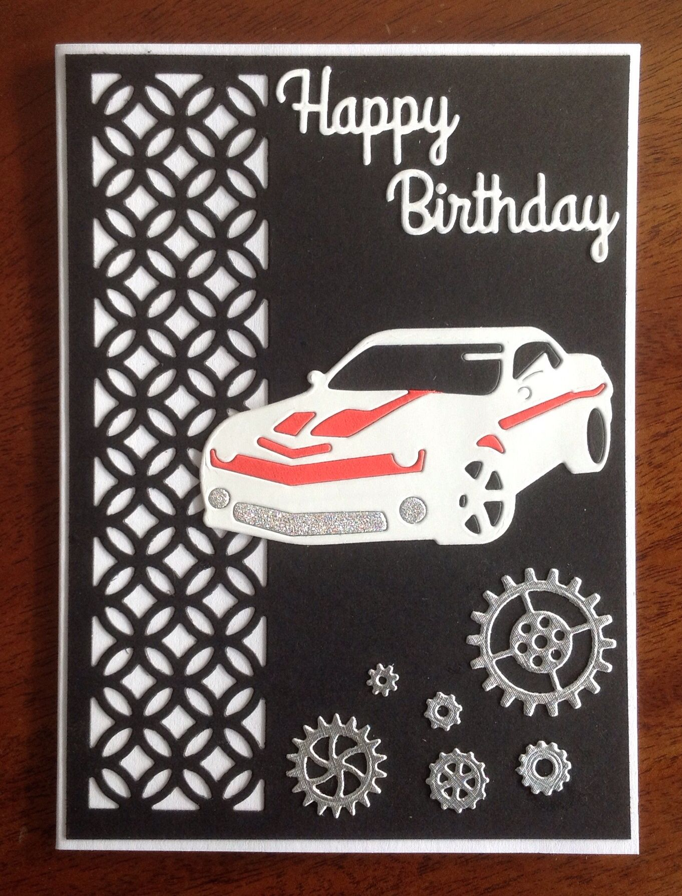Frantic stamper racing car card birthday cards for boys