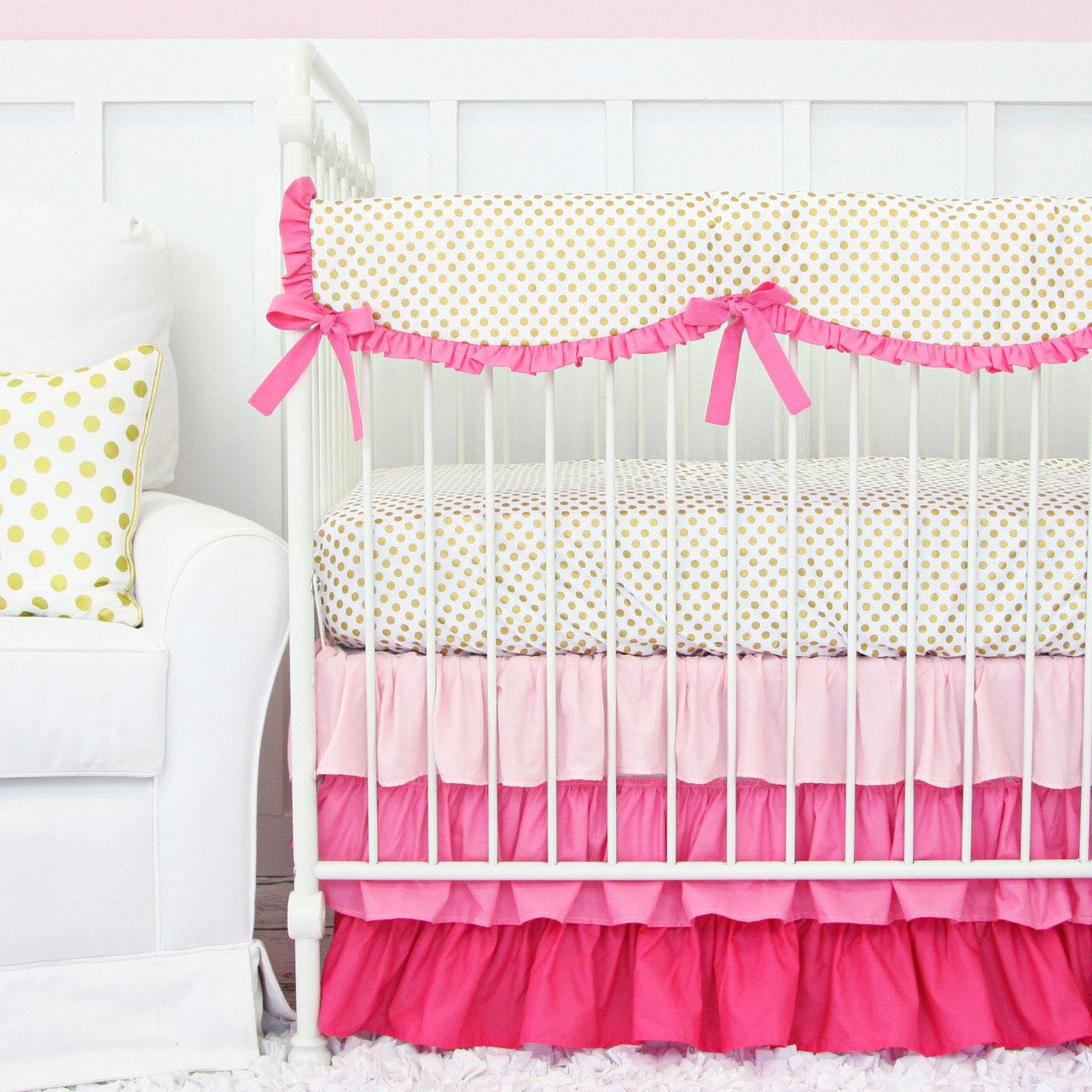 Our new Pink and Gold Dot Ruffle Designer Baby Bedding is perfect for a gold inspired nursery! The metallic gold dot is just so perfect for any baby nursery!