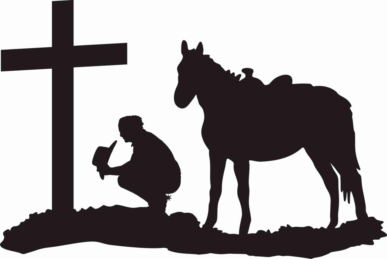 Cowboy at the cross praying cowboy and horse kneeling at for Cowboy silhouette tattoo