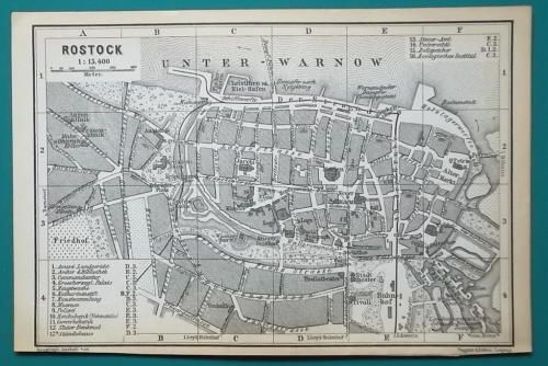 1897 Baedeker Map Germany Rostock Town Plan Everyone Loves A