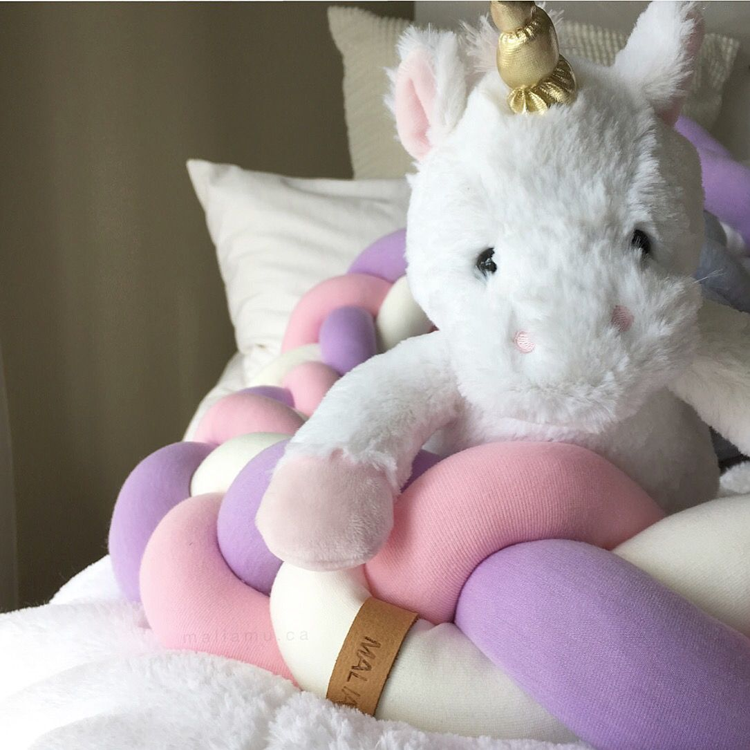 Crib pillows babies - Custom Crib Bedding Braided Crib Bumper Also Used For Tummy Time Baby Pillow Unicorn
