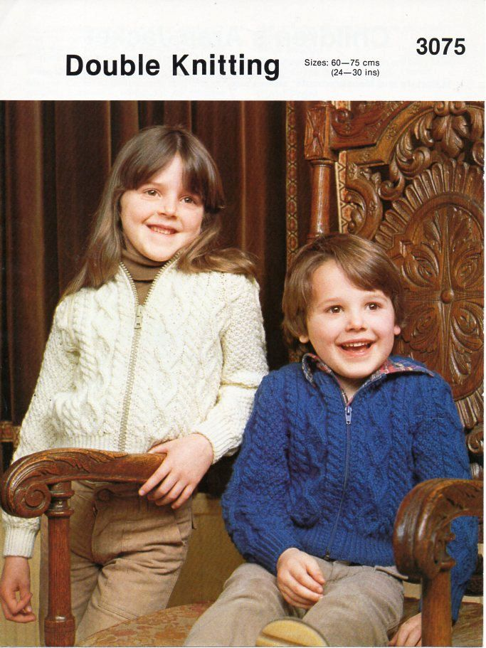 childrens / childs aran jackets knitting pattern pdf DK aran ...