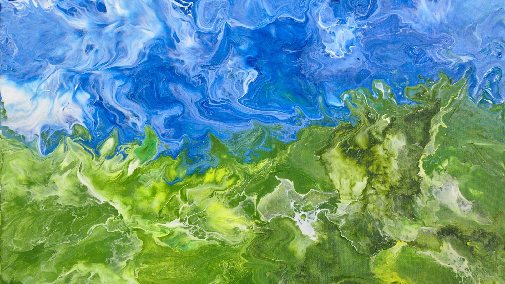 Wallpaper Liquid Paint Fluid Art Stains Spots