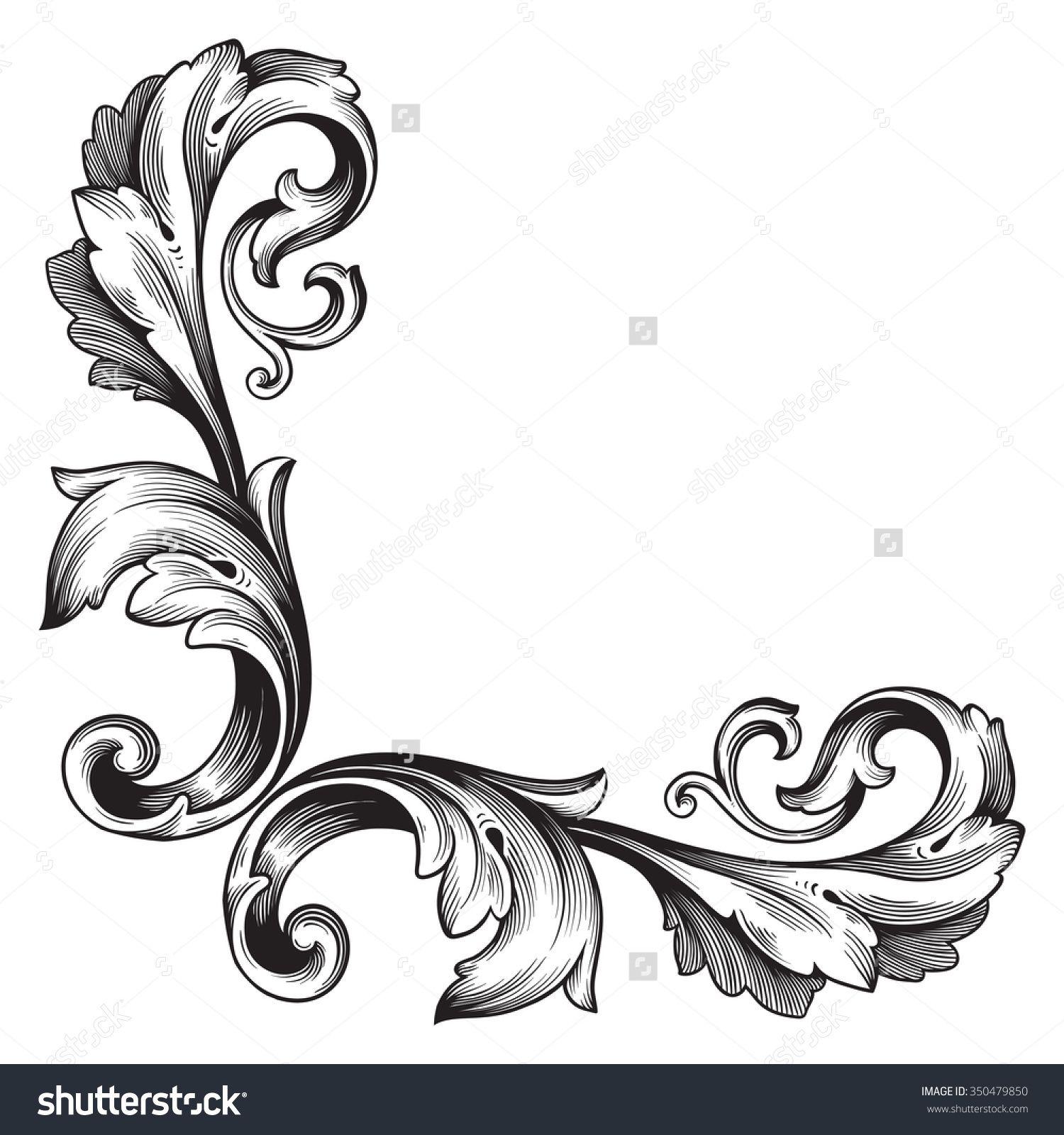 Classic Corner Flowers Leaf Vintage Line Border Retro Vector: Filigree Tattoo - Google Search €�