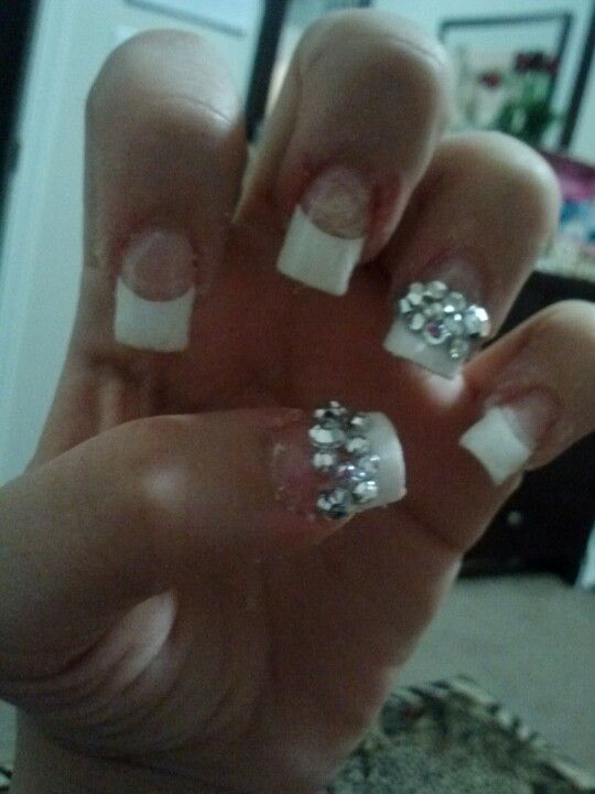 French tips with diamonds | Nails | Pinterest