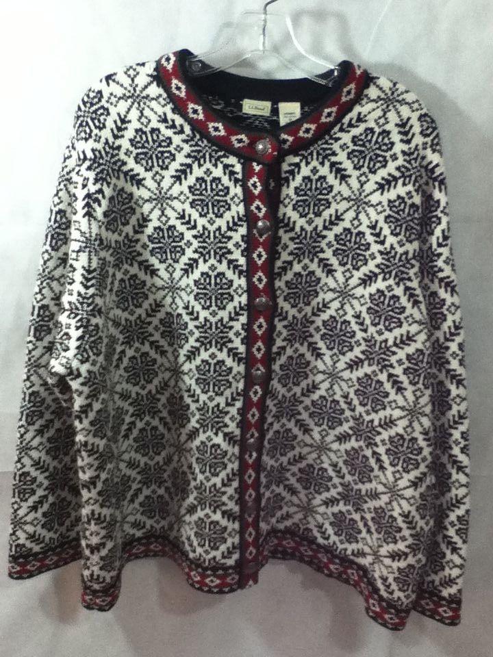6e972e2e3f9 L.L. Bean Nordic Fair Isle Snowflake Heavy Button Down Sweater Cardigan  Size 3X  LLBean  Cardigan