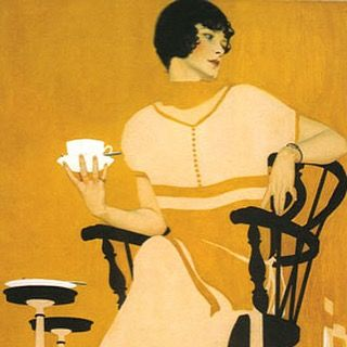 "A stunning advertisement from 1924 illustrated by Coles Phillips. Phillips was known for his ""fadeaway girl"". No outlines were used for the figures, but the background was cleverly tied into the foreground and the shape of the girl could be clearly identified. #advertising #art #vintage"