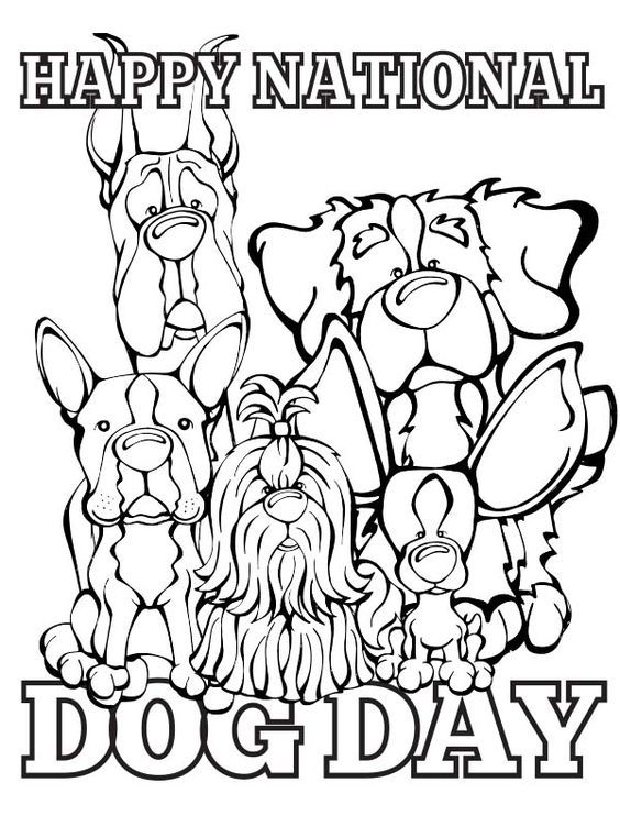 Dog Day Happy National Dog Day Dog Template Dog Coloring Page