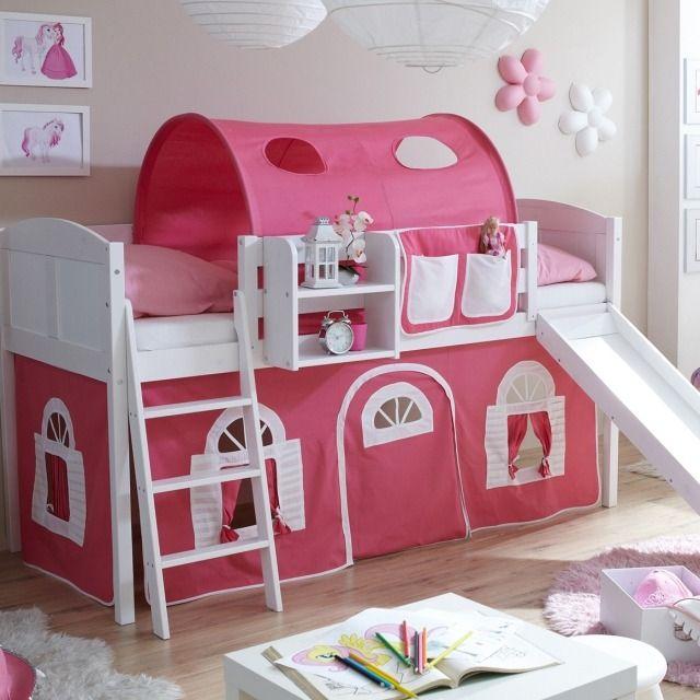 Un Lit Mezzanine Enfant En Rose Et Blanc Dans La Chambre De Petite Fille