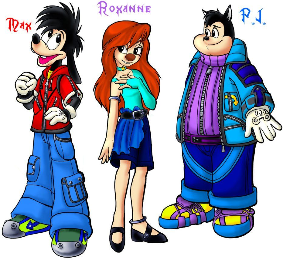 Max, Roxanne, and PJ as they would probably appear in Kingdom Hearts