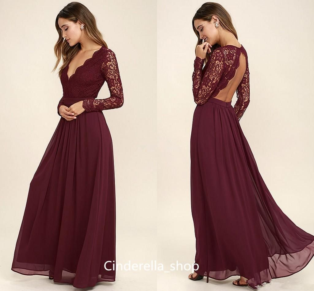 5e01cd43a4a Modest Burgundy Cheap Bridesmaid Dresses 2017 Long Sleeves Top Lace V Neck  Backless Country Beach Wedding Guest Dresses Maid Of Honor Gowns Ivory  Bridesmaid ...