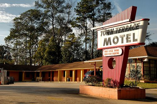 Moultrie Ga Colquitt County Town Terrace Motel 1950s Motor Hotel Modernist Style Sign Picture Image Photo