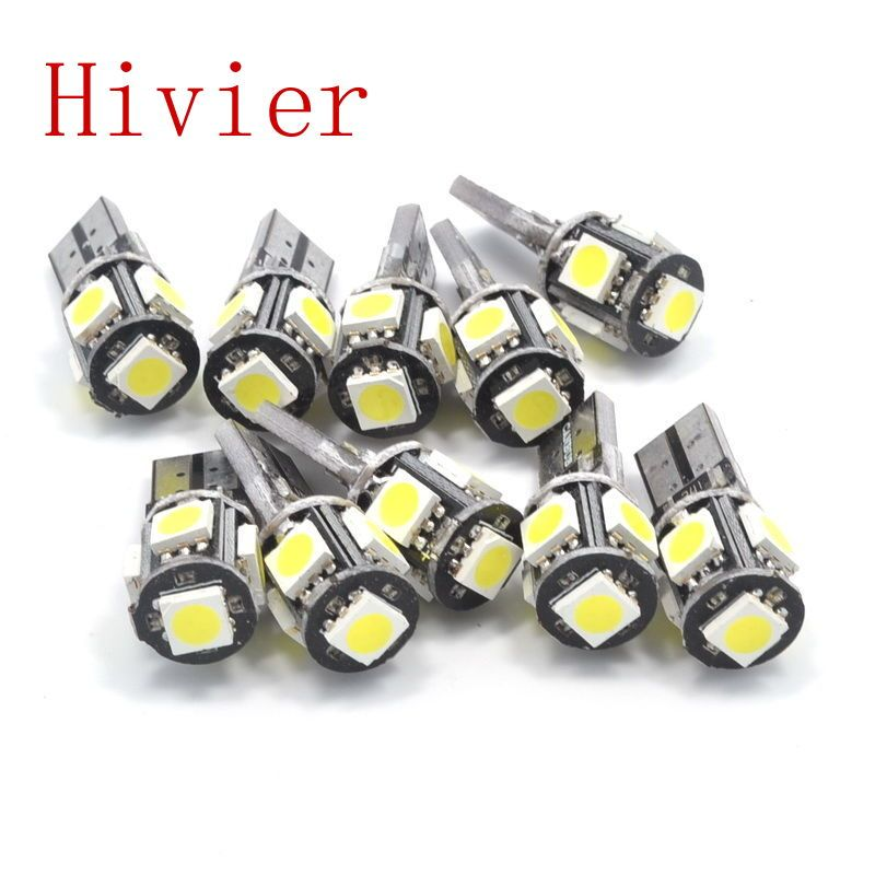 groothandel nieuwe hoge kwaliteit canbus wit blauw 10x t10 5smd 5 smd 5050 led auto w5w 194 fout bollen gratis verzending