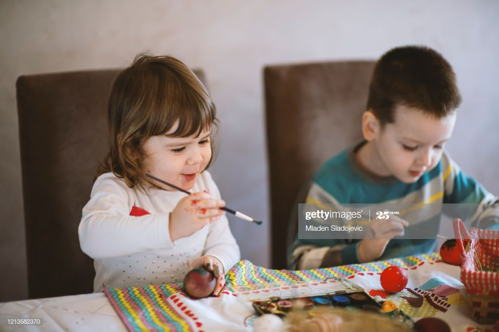 Children Painting Easter Eggs At Home Photography #Ad, , #affiliate, #Easter, #Painting, #Children, #Photography