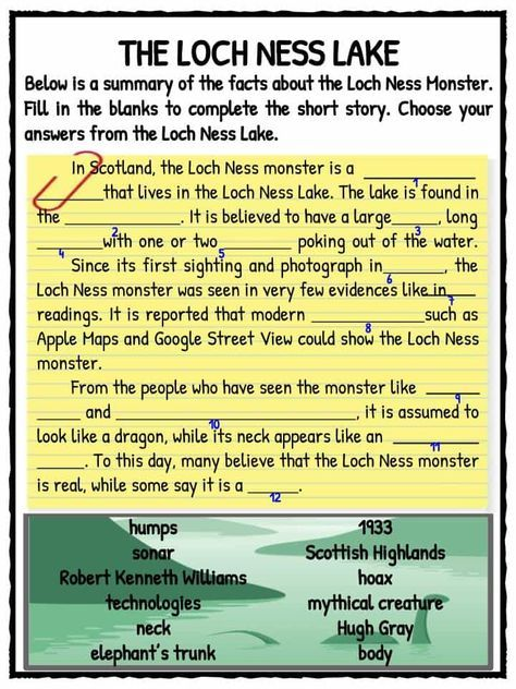 Loch Ness Monster Facts & Worksheets For Kids | Teaching Resource ...