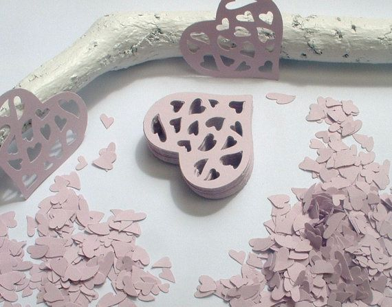 50 Lilac Large Hearts plus Die Cut Confetti. by ShoestringCottage, $5.00