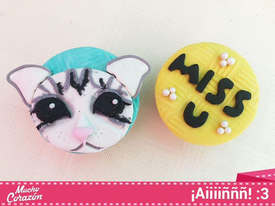 Cupcakes en fondant, gatito, gato.  #MuchoCorazón #ReposteríaCasera